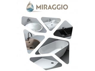 Умывальники, ванны и душевые поддоны из мрамора украинского бренда Miraggio