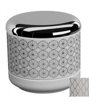 Баночка настольная с крышкой, цвет белый декор NETTING хром Pomdor Equilibrium 777501002N