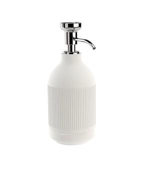 Дозатор ж/мыла настольный, Ribs(белый матовый рельефполоски) хром Pomdor Equilibrium 777832002R