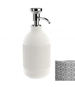 Дозатор ж/мыла настольный, цвет белый декор CIRCLE хром Pomdor Equilibrium 777832002C
