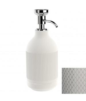 Дозатор ж/мыла настольный, цвет белый декор NETTING хром Pomdor Equilibrium 777832002N