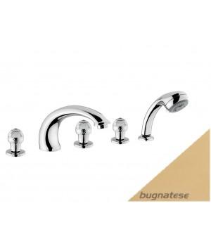 Смеситель для ванны на 5 отверстий с ручками Сваровски в комплекте золото Bugnatese Axo AXODO680F