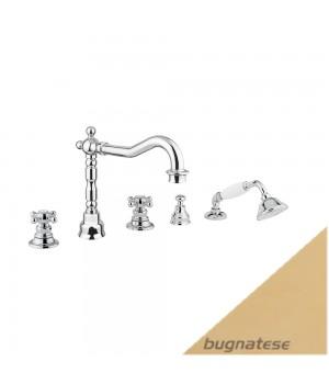Смеситель для ванны на 5 отверстий золото Bugnatese Arcadia ARCDO8380