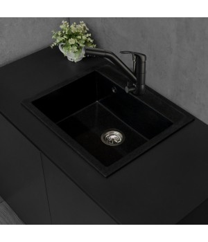 Мийка Fancy Marble Oregon 590х500х210 мм, світно-чорна