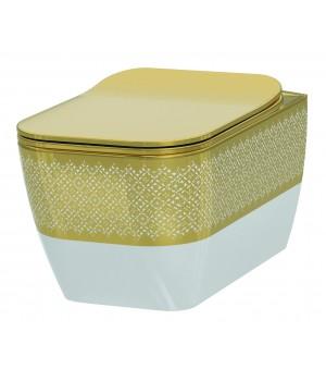 Чаша безободкового подвесного унитаза Idevit Halley 3204-2616-1101 белый,золотой