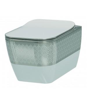 Чаша безободкового подвесного унитаза Idevit Halley 3204-2616-1201 белый,серебрянный