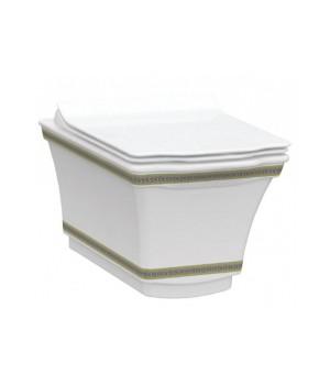 Чаша безободкового подвесного унитаза Idevit Neo Classic 3304-0616-0088 белый,золотой