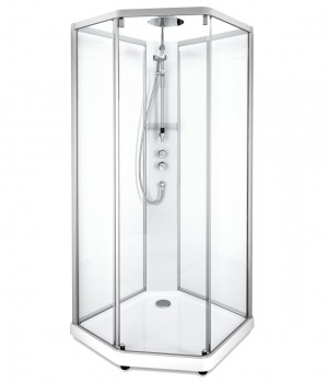 Передние стенки и дверь душевой кабины Ido Showerama 10-5 80*90см, серебряный профиль/прозрачное стекло
