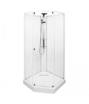Душевая кабина Ido Showerama 10-5 Comfort пятиугольная 90*90см, профиль белый, прозрачное стекло/матовое стекло