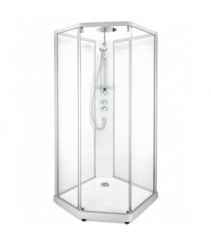 Душевая кабина Ido Showerama 10-5 Comfort пятиугольная 90*90см, профиль серебристый, прозрачное стекло/матовое стекло