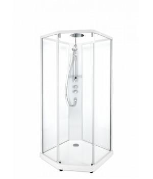 Передние стенки и дверь к душевой кабине Ido Showerama 10-5 Comfort 100*100см, белый профиль/прозрачное стекло