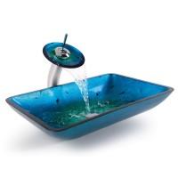 Стеклянная раковина Irruption Blue на столешницу GVR-204-RE-15mm Kraus