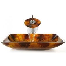 Стеклянная раковина Amber на столешницу GVR-420-RE-15mm Kraus