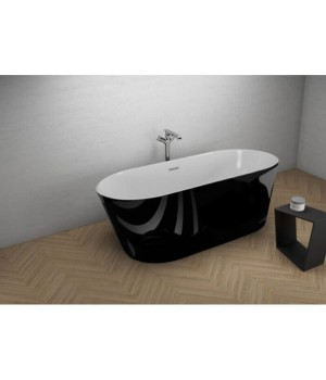 Акрилова ванна UZO чорна глянцева, 160 x 80 см Polimat