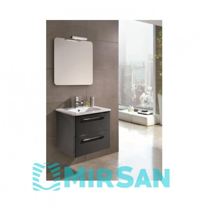 Сантехніка Primera C0072913 KLEA Комплект меблів: тумба+раковина+дзеркало 80см, сірий глянцевий