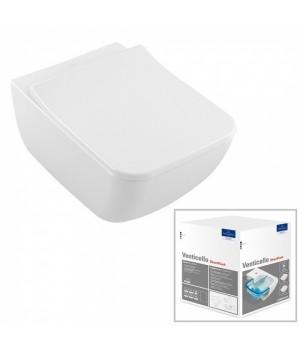 Унитаз подвесной Villeroy&Boch Venticello Direct Flush Ceramic Plus с крышкой SlimSeat в комплекте 4611RSR1