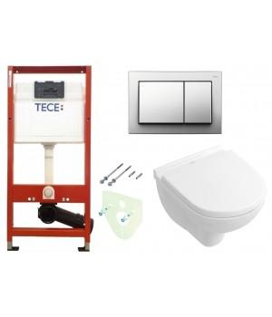 Инсталляция TECEbase kit 4в1 9400006 + Подвесной унитаз с крышкой Villeroy&Boch O.NOVO 5688НR01