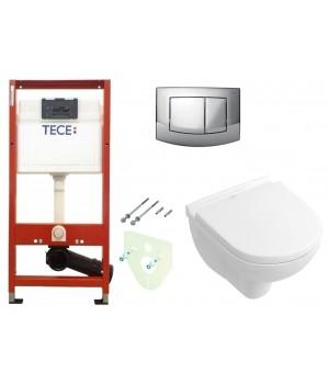 Инсталляция TECEbase kit 4в1 9400005 + Подвесной унитаз с крышкой Villeroy&Boch O.NOVO 5688НR01