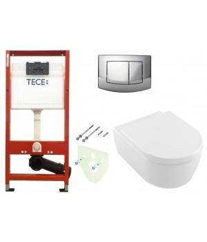 Инсталляция TECEbase kit 4в1 9400005 + Подвесной унитаз с крышкой Villeroy&Boch AVENTO 5656HR01