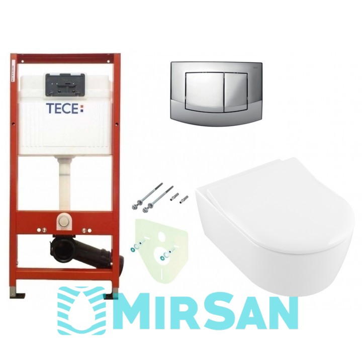 Инсталляция TECEbase kit 4в1 9400005 + Подвесной унитаз с крышкой Villeroy&Boch AVENTO 5656RS01