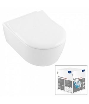 Унитаз подвесной Villeroy&Boch Avento Direct Flush Ceramic Plus с крышкой SlimSeat в комплекте 5656RSR1