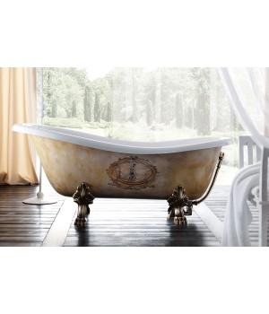 Акриловая ванна Treesse Epoca Impero Decoro 170x80xh72 см, фурнитура золото