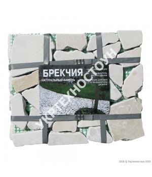 Натуральный камень Брекчия на сетке мрамор 20 мм Микс Беж
